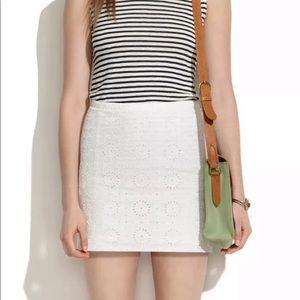 Madewell White Eyelet Sunflower Lined Mini Skirt
